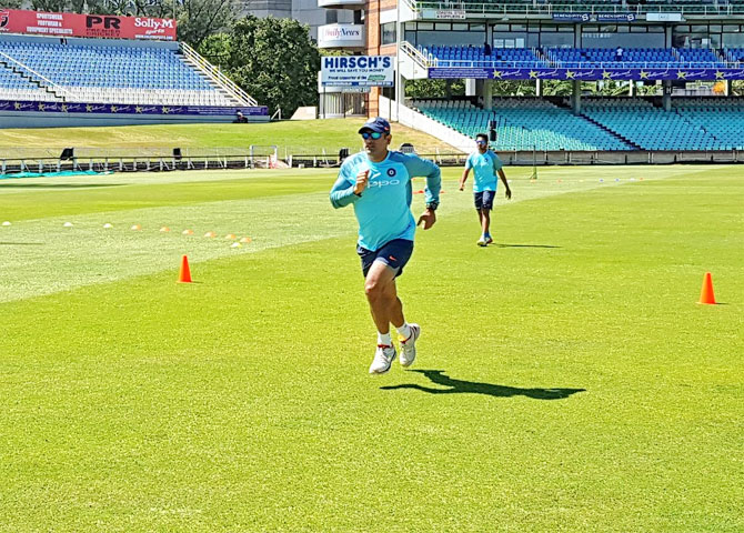 Mahendra Singh Dhoni goes through the paces at a training session in Durban on Wednesday
