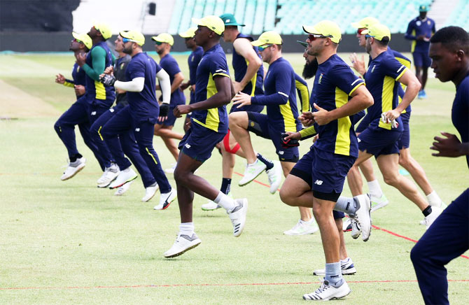The South African cricket team at a training session