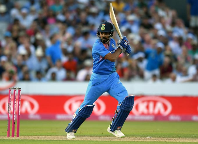 KL Rahul scored 101 not out off 54 balls to help India beat England by eight wickets, giving the visitors a 1-0 lead in the three-match series.