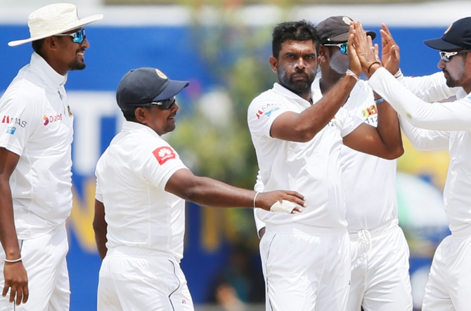 Rediff Sports - Cricket, Indian hockey, Tennis, Football, Chess, Golf - PIX: Sri Lanka spinners rout South Africa inside three days