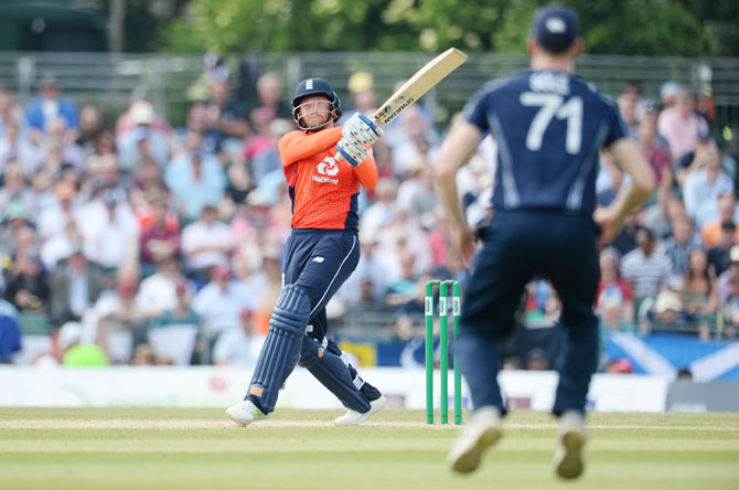 England's Jonny Bairstow hits a six during his innings