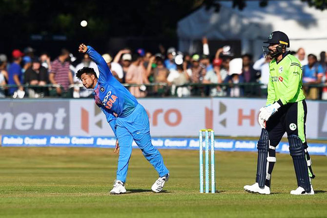 Kuldeep Yadav in action during the first T20I against Ireland on Wednesday