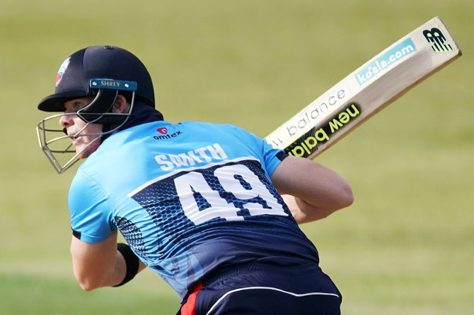 Steve Smith bats during his game at the GT20 Cricket Tournament in King City, Ontario, Canadaon on Thursday