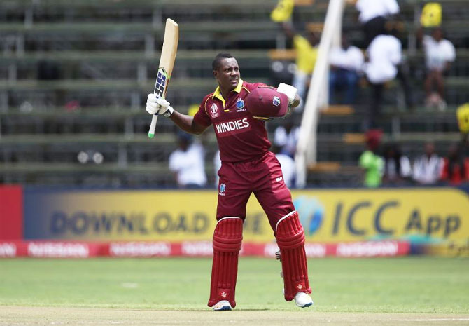Rovman Powell struck his maiden ton and set up victory for the Windies