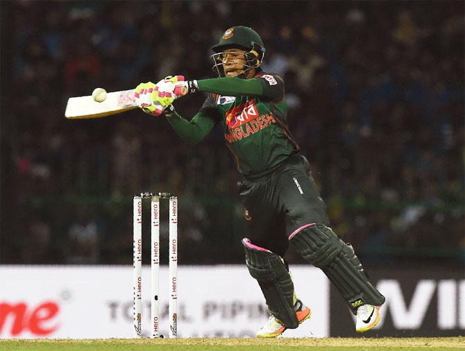 Bangladesh captain Mushfiqur Rahim scored 72 not out off 35 balls to help Bangladesh to a 5-wicket win over Sri Lanka in Colombo on Saturday