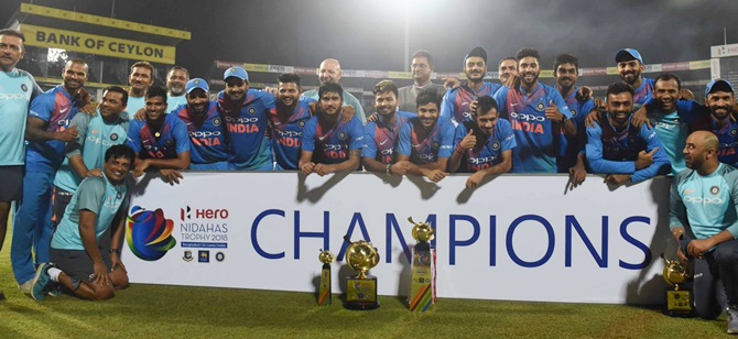 The Indian cricket team with the Nidahas Trophy after winning the final on Sunday