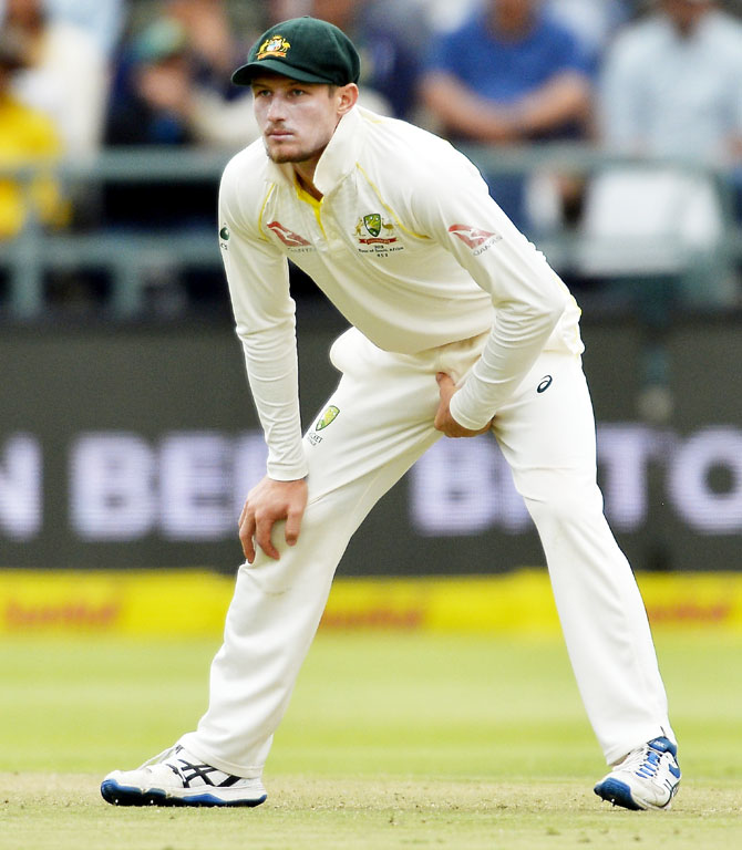 Australia's Cameron Bancroft after stuffing the sandpaper/sticky tape inside his underpants, following the ball-tampering on Day 3 of the 3rd Sunfoil Test against South Africa at PPC Newlands in Cape Town, South Africa, on Saturday