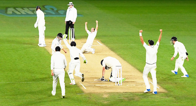 New Zealand bowler Todd Astle celebrates after dismissing England's James Anderson to win the first Test match on Day five at Eden Park in Auckland on Monday