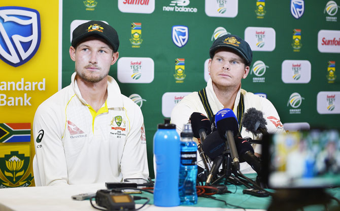 Cameron Bancroft and Steve Smith at a press conference confessing their act of ball-tampering on Day 3 of the 3rd Test vs South Africa in Cape Town on Saturday