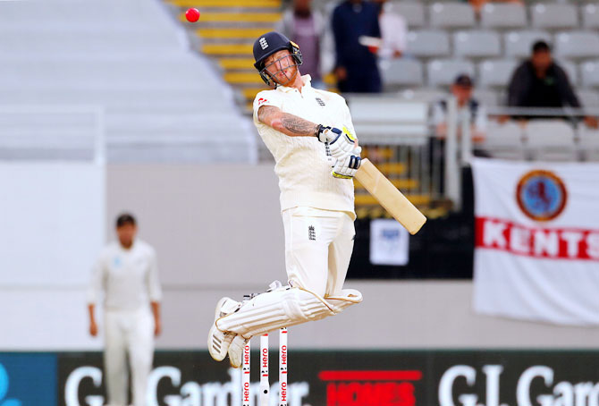 England's Ben Stokes avoids a short delivery from New Zealand's Neil Wagner