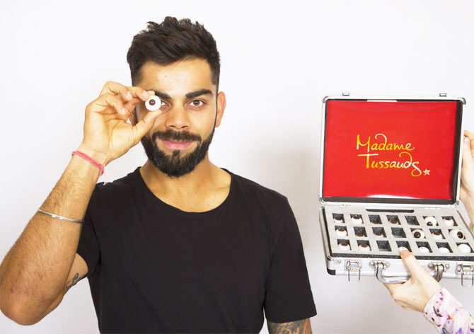 Virat Kohli during a sitting session with artists from Madame Tussauds on Wednesday