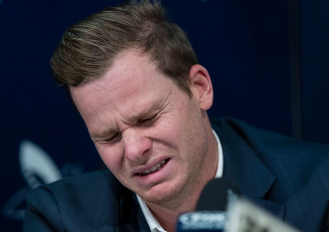 Former Australian Test Cricket captain, Steve Smith breaks down during a press conference at Sydney International Airport on March 29 following the ball-tampering saga