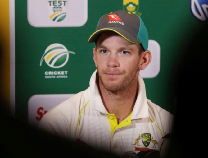 Australia's Tim Paine during the post match press conference