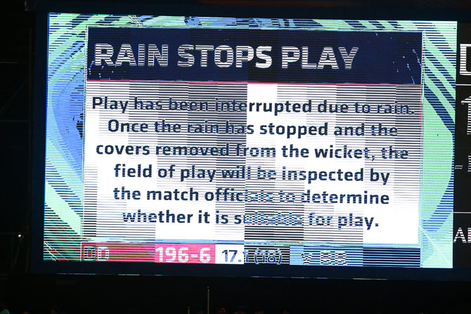 A message on the big screen at the Feroz Shah Kotla stadium on Wednesday