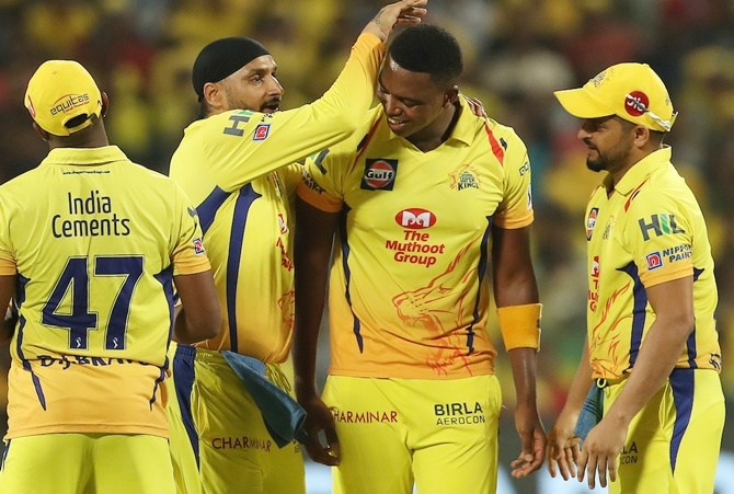 Lungi Ngidi of the Chennai Super Kings celebrates the wicket of Andrew Tye of the Kings XI Punjab