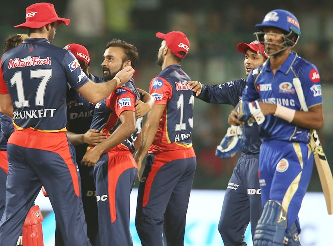 Rediff Cricket - Indian cricket - PHOTOS: Delhi Daredevils knock Mumbai Indians out of IPL