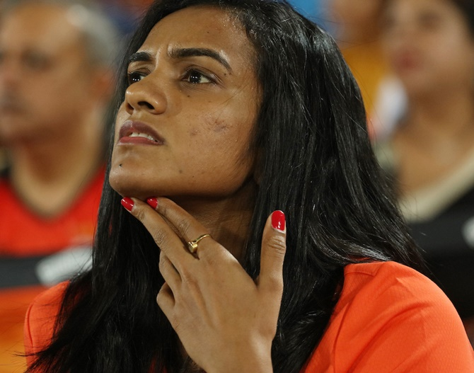 Rediff Cricket - Indian cricket - Spotted: Badminton ace Sindhu watching cricket