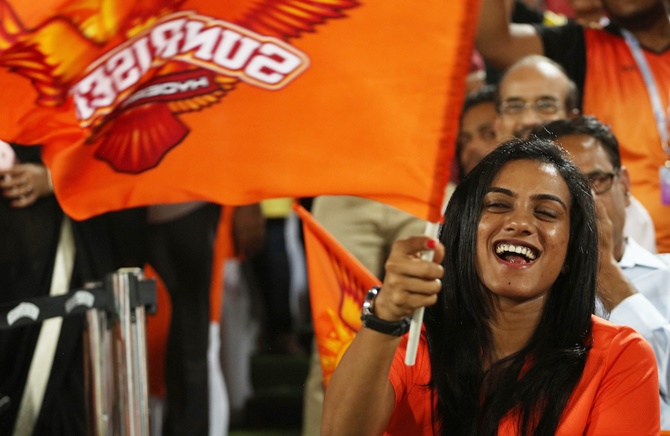 Rio Olympic silver-medallist PV Sindhu shows her support during the match between Sunrisers Hyderabad and Kolkata Knight Riders