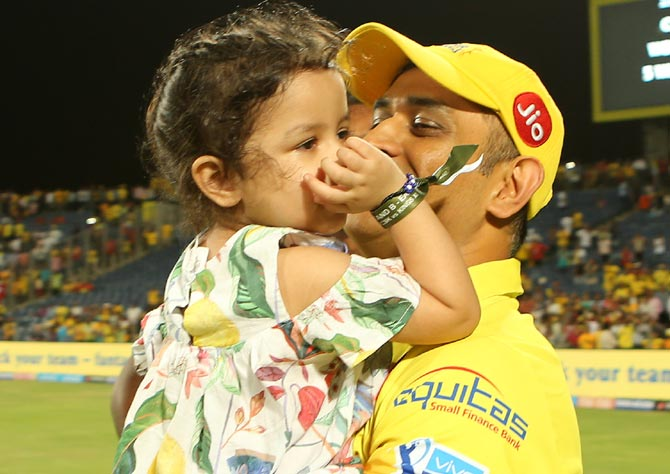 Mahendra Singh Dhoni with his daughter Ziva