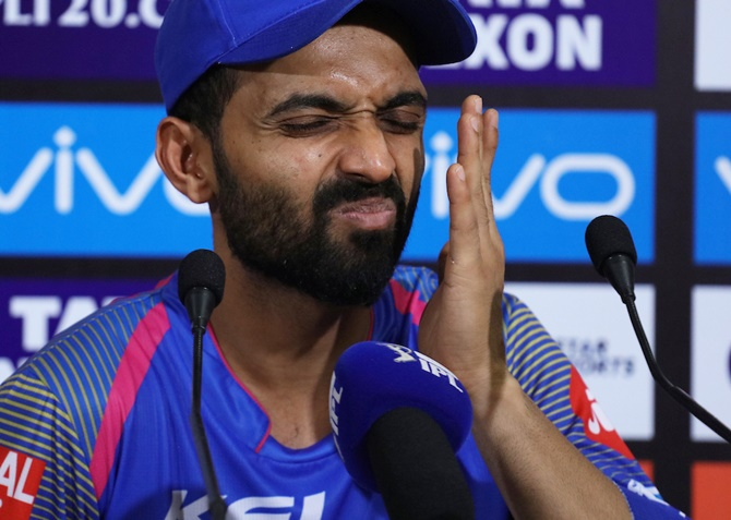 Rediff Sports - Cricket, Indian hockey, Tennis, Football, Chess, Golf - After IPL Eliminator, one thing Rahane won't do...make EXCUSES