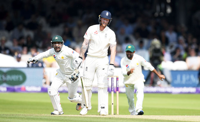 England's Ben Stokes reacts after being dismissed by Pakistan's Shadab Khan during Day 3 of the 1st NatWest Test