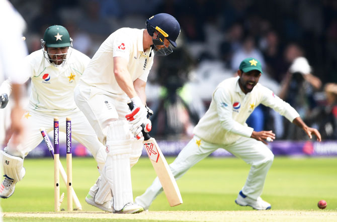 England's Mark Stoneman is bowled by Shadab Khan of Pakistan during day three of the 1st NatWest Test match at Lord's Cricket Ground in London on Saturday