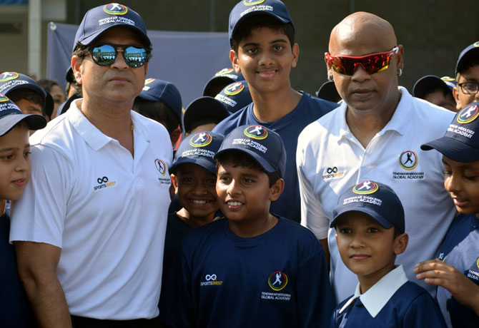 Rediff Cricket - Indian cricket - PIX: Tendulkar, Kambli back together on the field!
