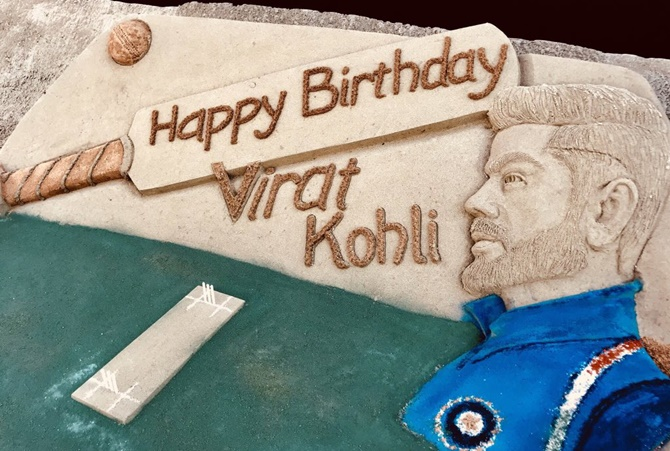 Rediff Cricket - Indian cricket - PIX: Tribute in sand for Virat Kohli