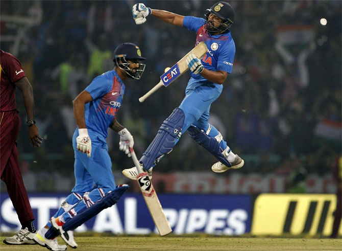 Rediff Cricket - Indian cricket - PIX: Record-breaking Rohit powers India to T20I series win