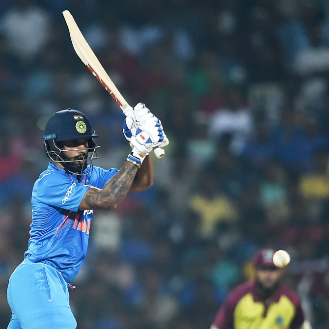 Rediff Sports - Cricket, Indian hockey, Tennis, Football, Chess, Golf - T20s: Dhawan takes centre stage as India sweep Windies