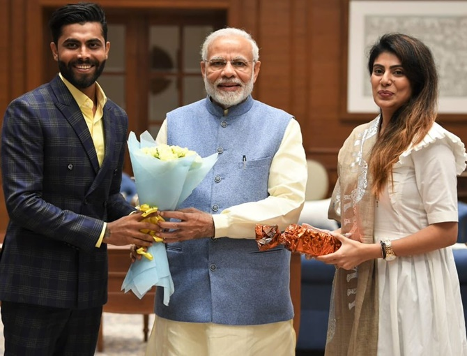 Rediff Cricket - Indian cricket - PIX: When Ravindra Jadeja met PM Modi