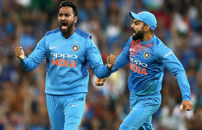 Rediff Cricket - Indian cricket - PHOTOS: Krunal, Kohli shine as India down Australia; series ends 1-1