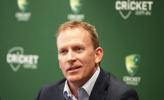Kevin Roberts, CA's new Chief Executive Officer speaks to the media during the Cricket Australia CEO announcement at the Cricket Australia Offices in Melbourne on Wednesday