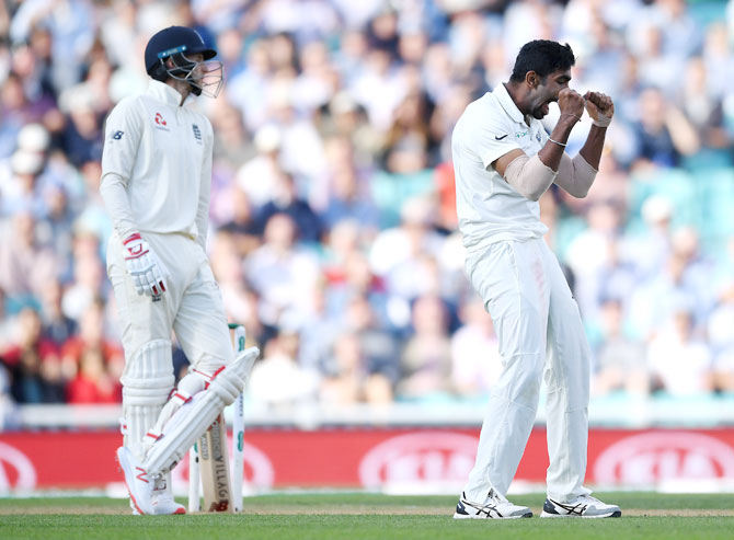 Jasprit Bumrah celebrates on dismissing England captain Joe Root. Root was out for a duck