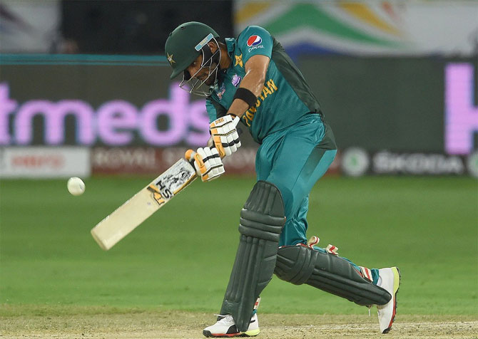 Pakistan's Babar Azam bats against Hong Kong on Sunday