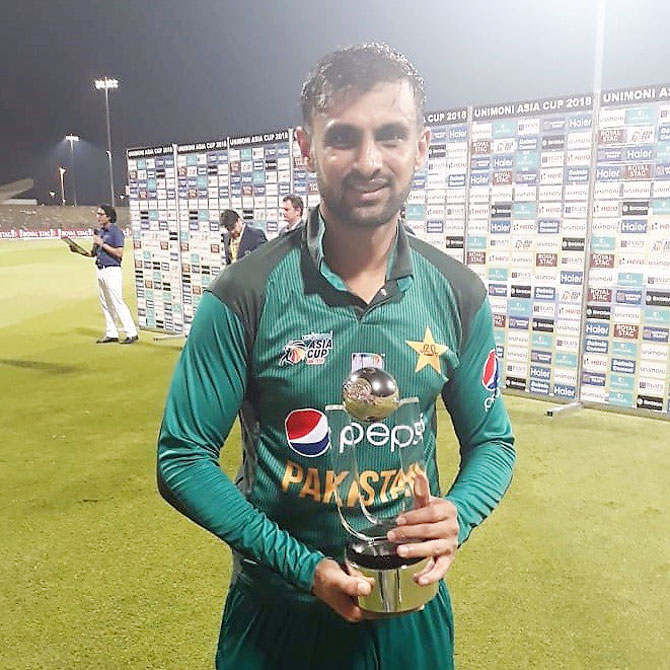 Pakistan's Shoaib Malik received the man-of-the-match award for his 51 not out off 43 deliveries