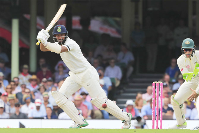 Rediff Sports - Cricket, Indian hockey, Tennis, Football, Chess, Golf - Sydney Test: Pujara breaks Gavaskar record to put India on front foot