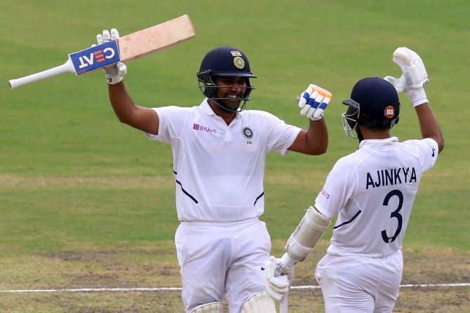 Rohit-Rahane steady India after early wobble