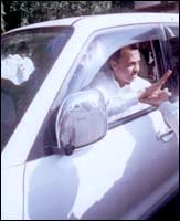 Ajit Pawar in his Toyota Land Cruiser is difficult to catch up with