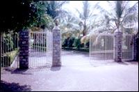 Entrance to Sharad Pawar's sprawling farmhouse outside Baramati