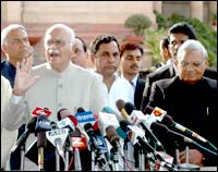 BJP leader L K Advani addresses media persons after complaining to the president about 'murder of democracy' in Jharkhand.