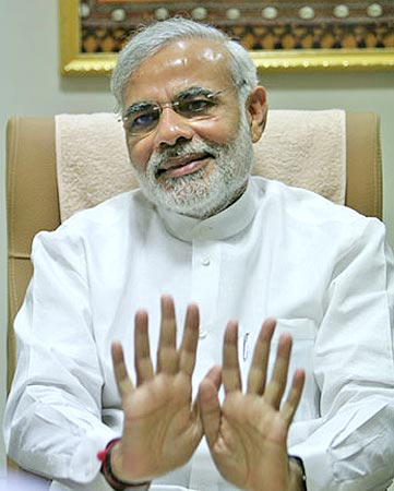 Narendra Modi in his office in Gandhinagar. Photograph: Rajesh Karkera/Rediff.com