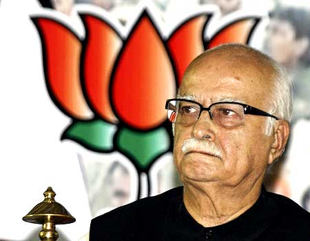 BJP leader L K Advani attends a party meeting in Ahmedabad on May 25