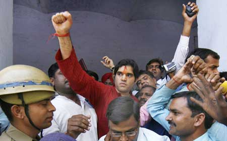 BJP candidate Varun Gandhi leaves a local court in Pilibhit on March 28