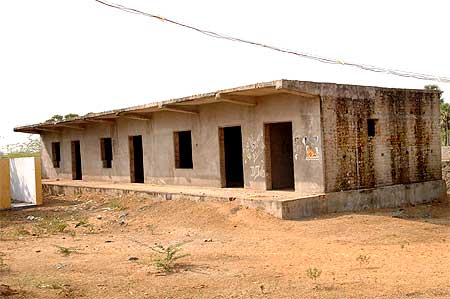 The dilapidated school building, the only one in the village