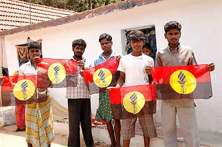 Vijayakanth's fans proudly display his party's posters