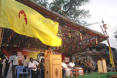 A Tamil Eelam flag flutters at a poll meet in Sivaganga