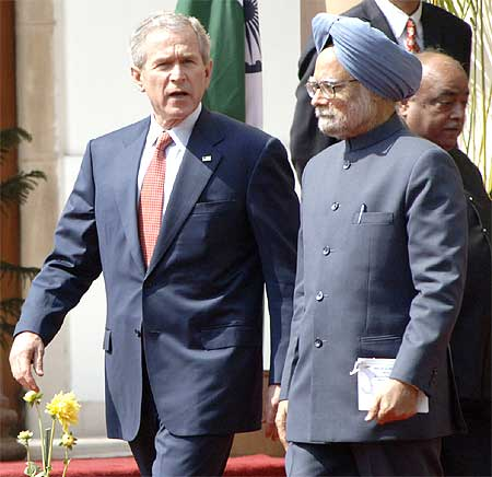 Prime Minister Manmohan Singh and then US President George W Bush