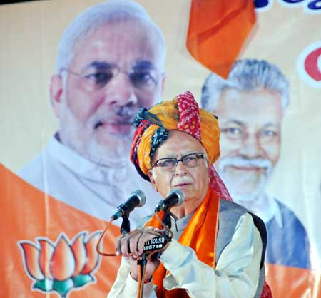 L K Advani , the BJP's prime ministerial candidate, addresses a meeting in Ahmedabad