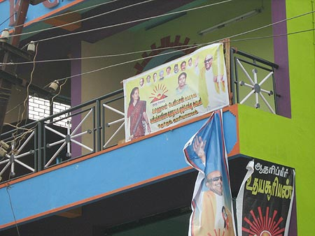 A poster of DMK candidate Helen Davidson